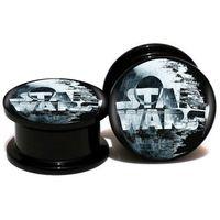 2 X Black Acrylic Fake Plug with Three Embedded SkullsTapers