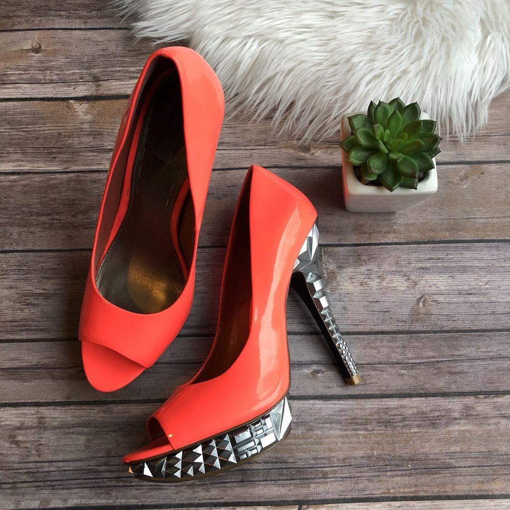 02be077cdf6 Rachel Roy Keiraah Womens 8.5 M Neon Coral Peep Toe Platform Heels Art  Silver