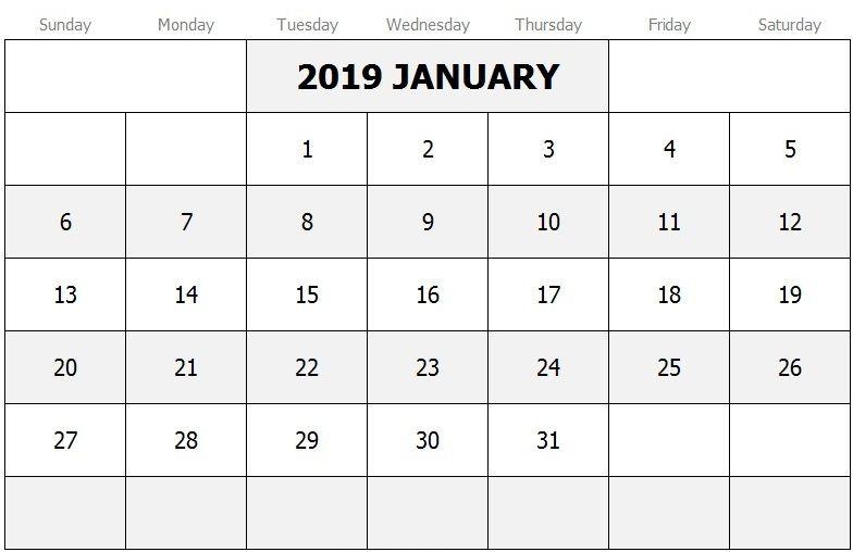 January Calendar 2019 Canada 250+ January 2019 Calendar