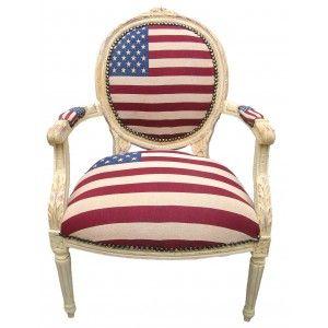 fauteuil baroque de style louis xvi drapeau americain et bois beige armchairs flags and beige. Black Bedroom Furniture Sets. Home Design Ideas