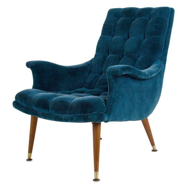 Vintage Mid Century Modern Blue Ribbed Velvet Chair Velvet Chair Mid Century Modern Chair Comfy Chairs