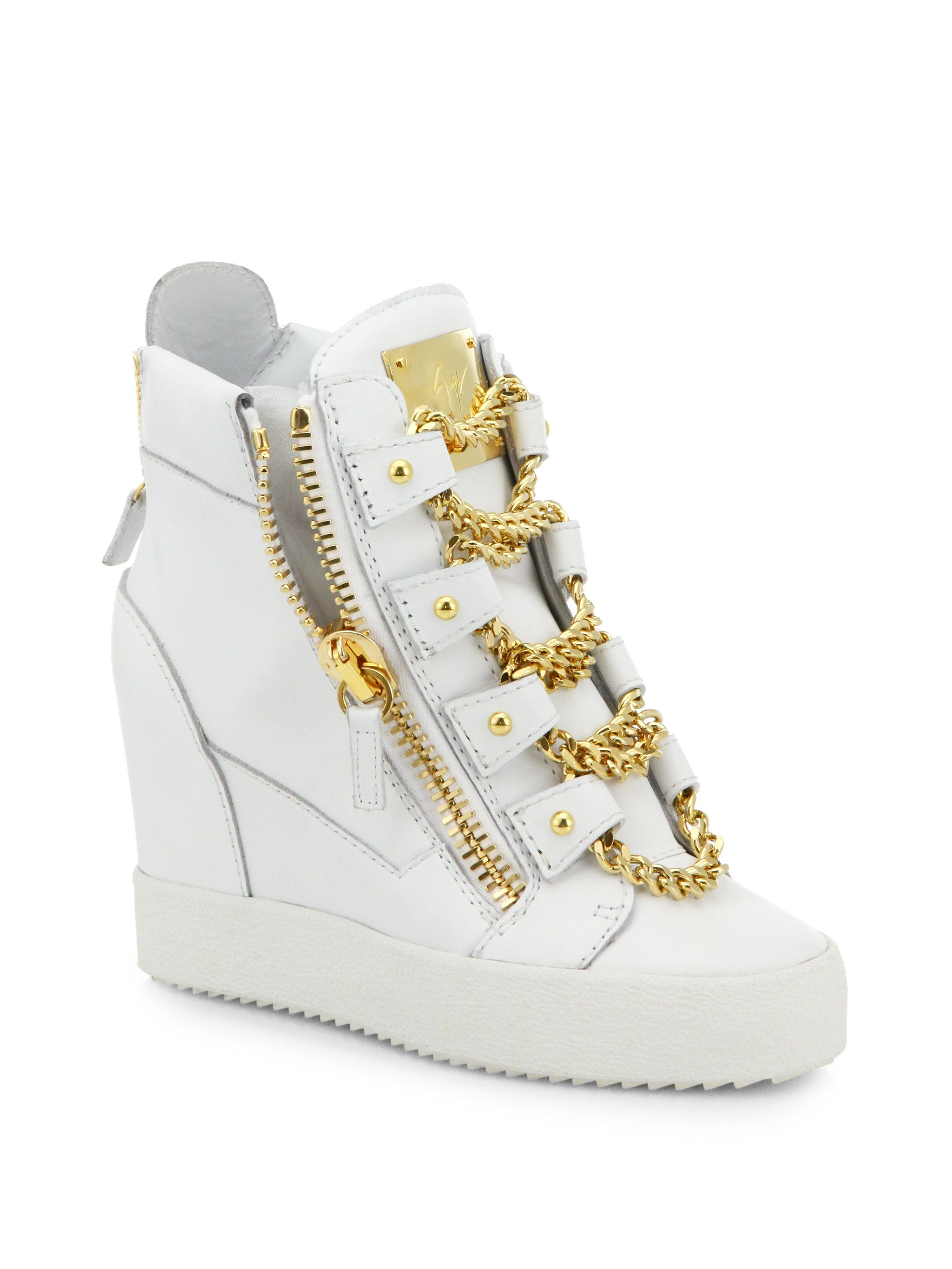 a1b0282c99192 Giuseppe Zanotti White Chains Leather Wedge High-Top Sneakers ...