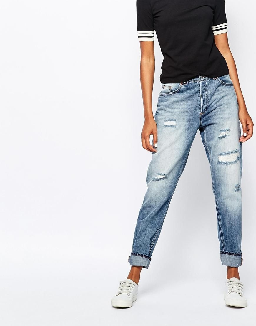 cfbcb1bd3f4 Monki | Monki Girlfriend Distressed Jean at ASOS | Denim | White ...