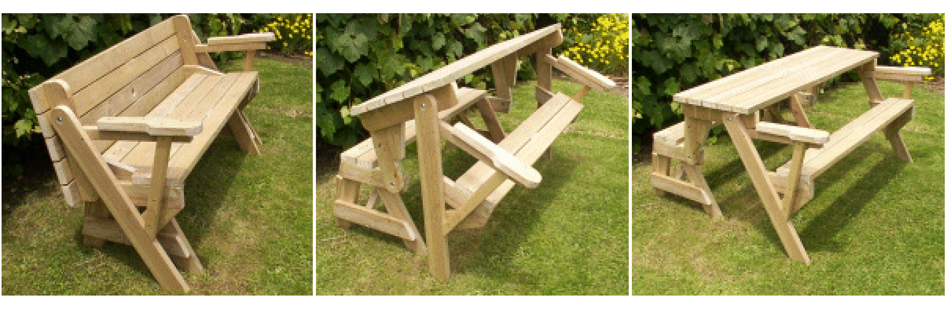 Detailed plans for a bench which turns into a picnic table