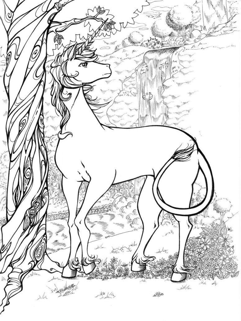 The last unicorn lineart by bandeau deviantart com on deviantart