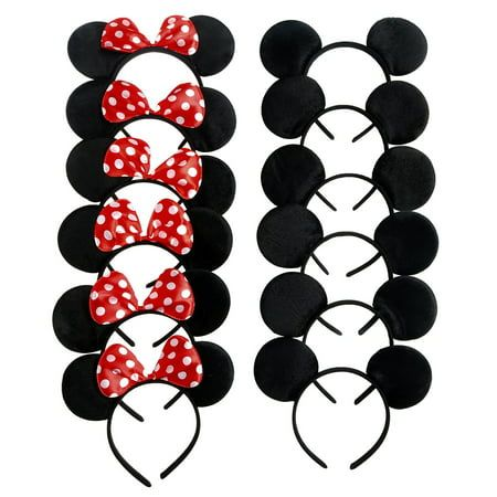 Mickey Mouse Ears, Solid Black, and Minnie Mouse Headbands, Red Polka Dots, 12 pc + FREE Temporary Body Tattoo! - Walmart.com