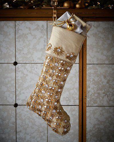 kim seybert champagne pearl fringe christmas stocking z