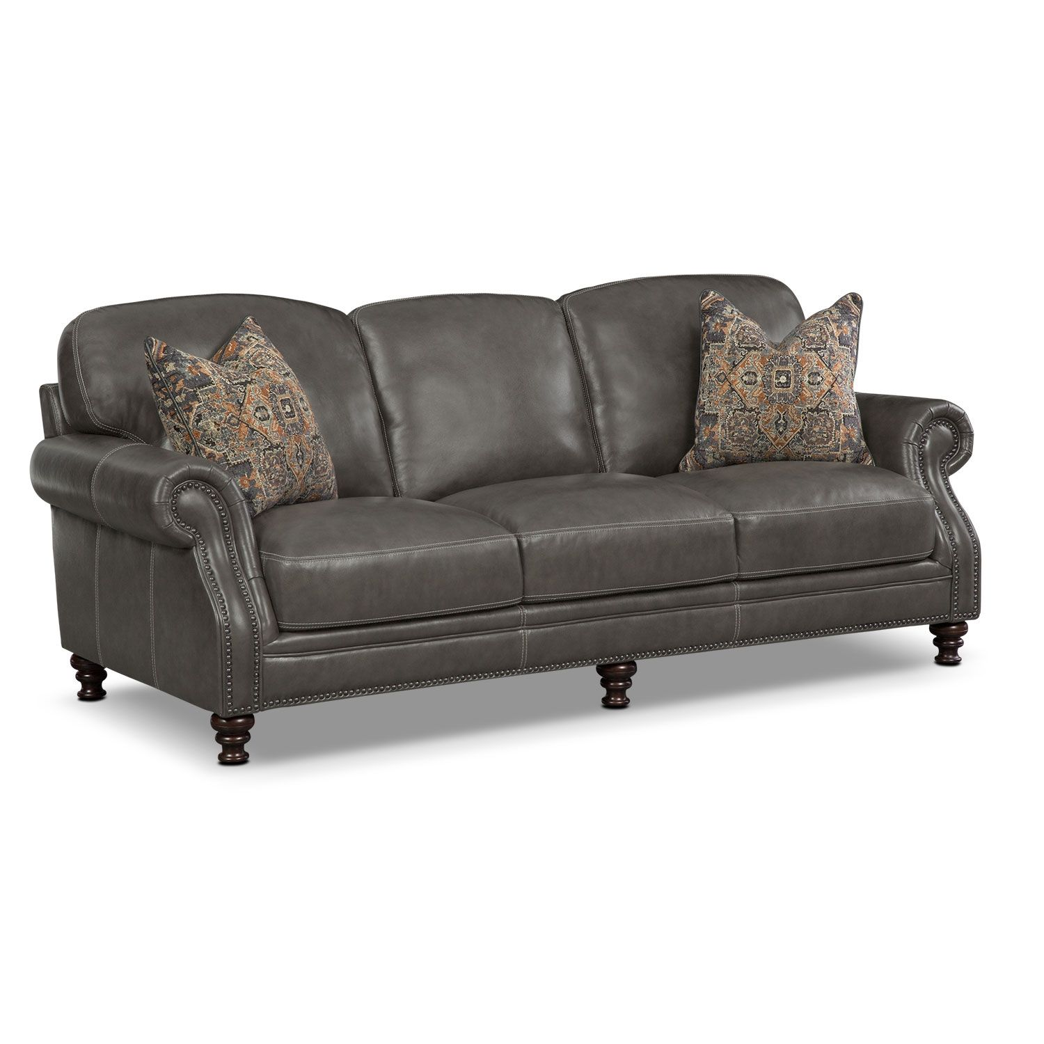 Living Room Furniture Carrington Charcoal Sofa