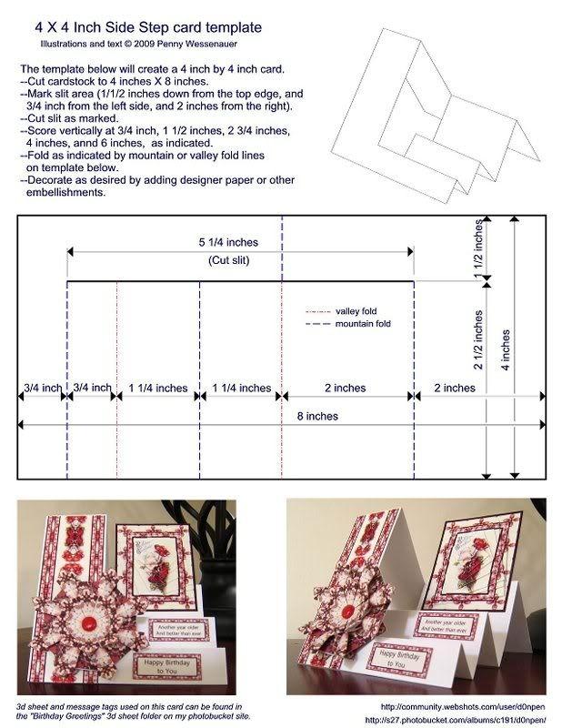 Side Step Card Template Kaart Patronen Gevouwen Kaarten Kaarten