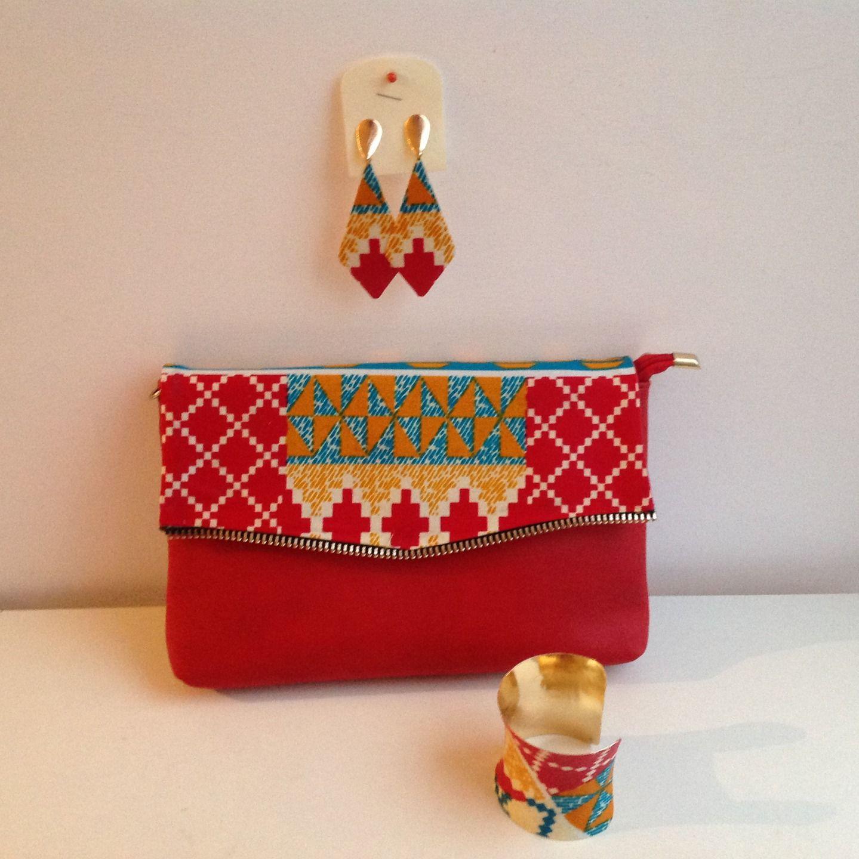 pochette en tissu pagne africain wax sacs main par doranels wax accessoires pinterest. Black Bedroom Furniture Sets. Home Design Ideas