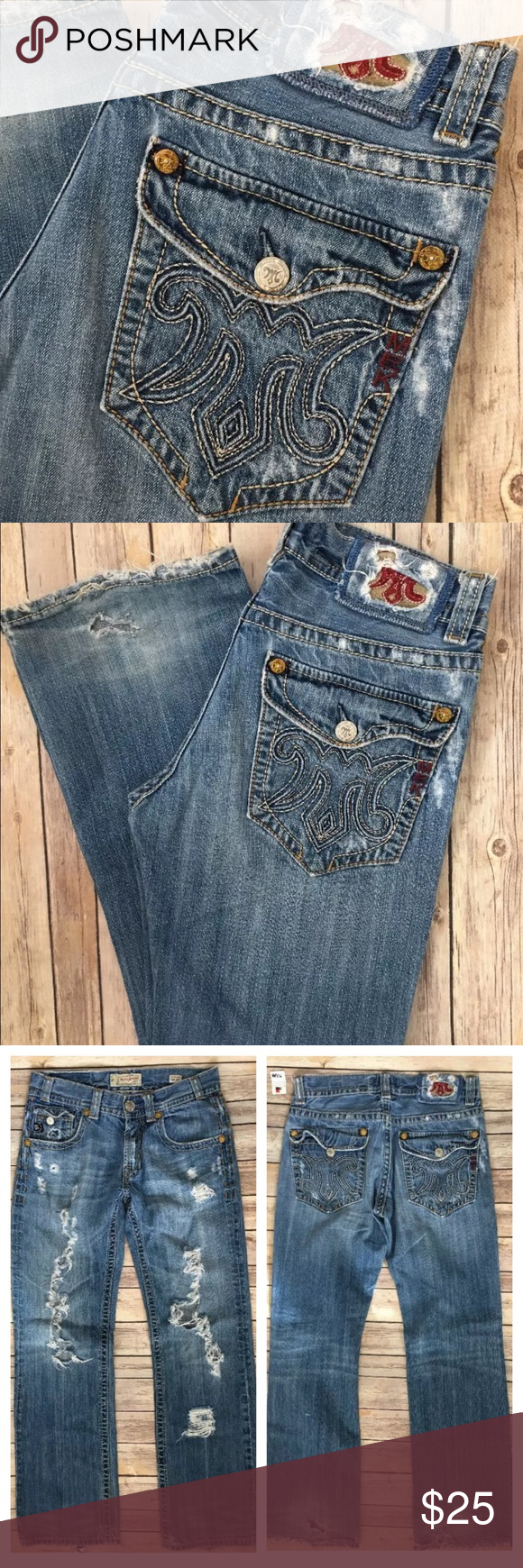 """🚫Sold🚫MEK Denim Buckle Easter Island 31 x 34 Des Tag Size - 31 x 34 Waist Measured Across - 16.5"""" Inseam - 34"""" Rise - 9.5"""" Jeans are destroyed/distressed. MEK Jeans Bootcut"""