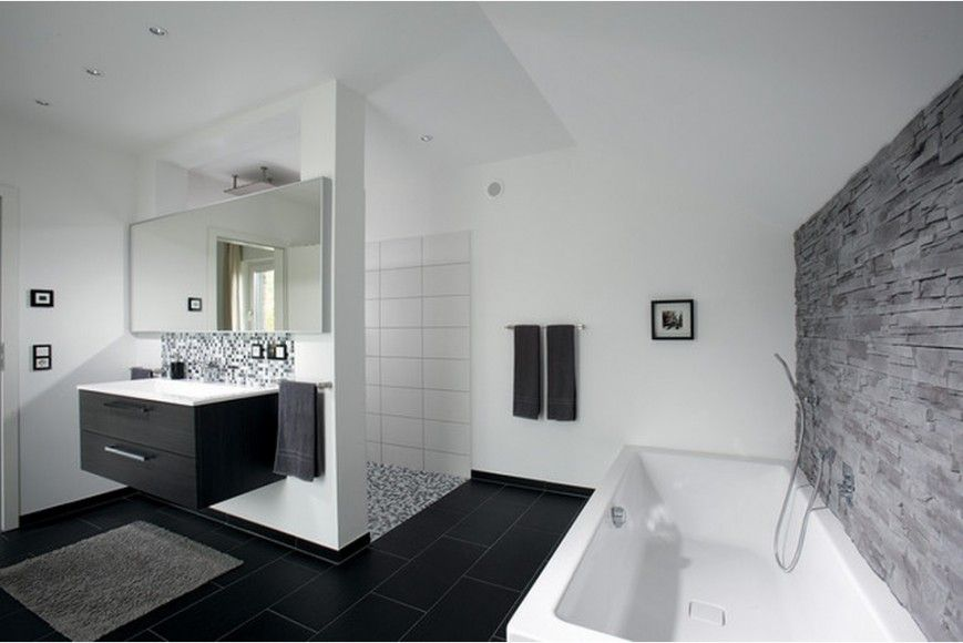 German Brick House Decorating Ideas. Bathroom In Classic Black And White  Contrast And Hi