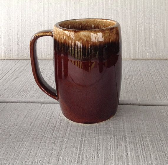 1d5d87006e2 vintage brown drip HULL pottery beer stein coffee mugs vintage brown drip  pottery large mugs, vintage brown pottery hot chocolate mug stein