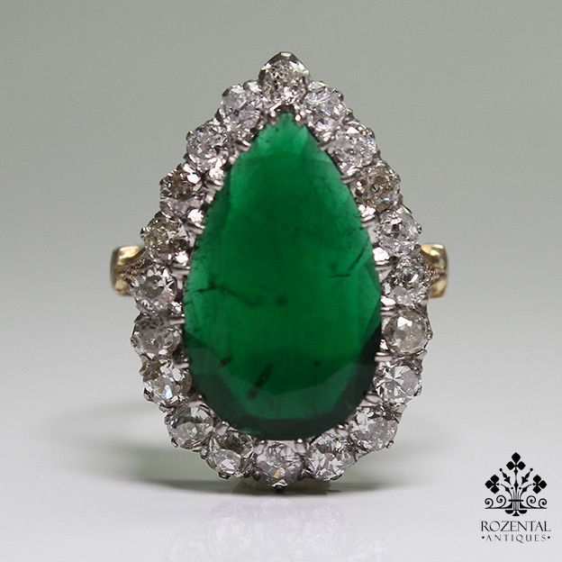 Antique Art Deco 18k Gold Diamond & 4 Ctw Emerald Ring