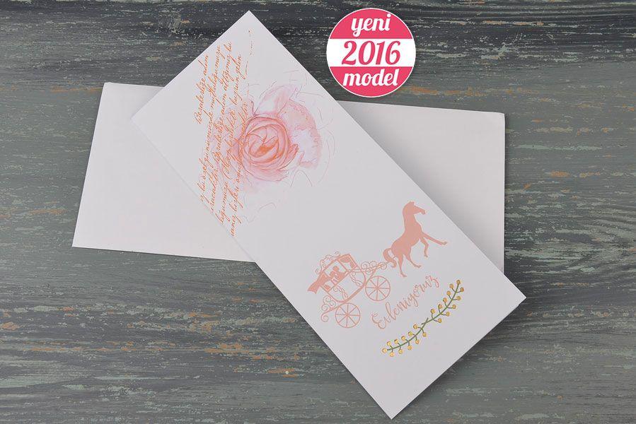 Yağlı Boya çiçek Desenli At Arabası Figürlü Davetiye 20197 2016