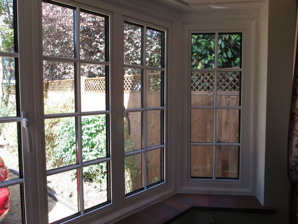 white aluminium bay window with external georgian bars. Black Bedroom Furniture Sets. Home Design Ideas