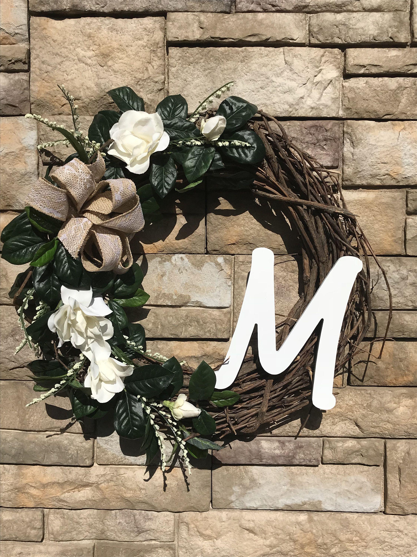 Photo of Large Silk Farm M Monogram Magnolia Wreath – Sold as a personalized M Monogram Decor Farmhouse Magnolia Wreath all year round