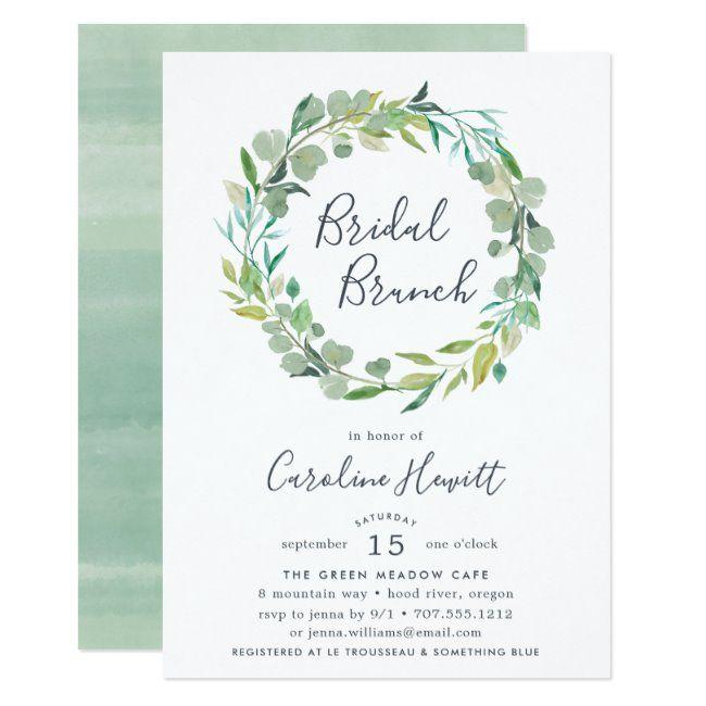 Photo of Eucalyptus Wreath Bridal Brunch Invitation | Zazzle.com