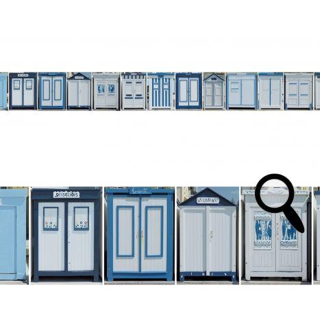 frise adh sive repositionnable cabines de plage bleues cabine de plage d coration marine. Black Bedroom Furniture Sets. Home Design Ideas
