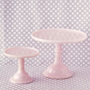 i've seen you around town, pink milk glass cake stand. i'll get you my pretty ... and your little friend too.