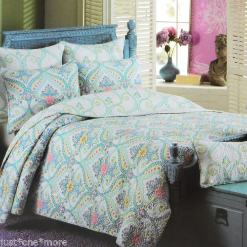 CYNTHIA-ROWLEY-XL-MEDALLION-QUEEN-QUILT-3pc-SET-FLORAL-JEWEL-TEAL-LIME-PURPLE