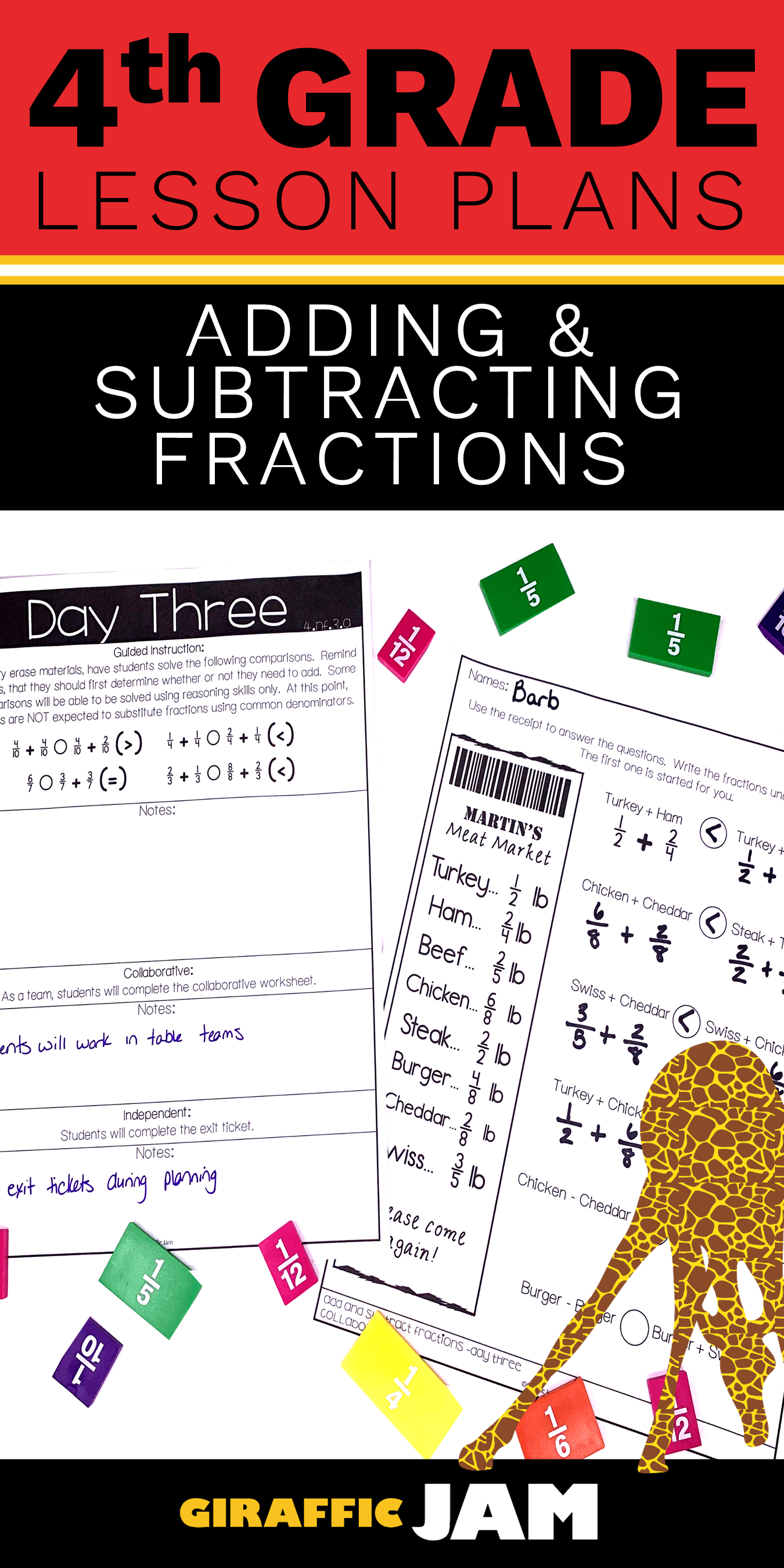 Adding And Subtracting Fractions 4th Grade Lesson Plans