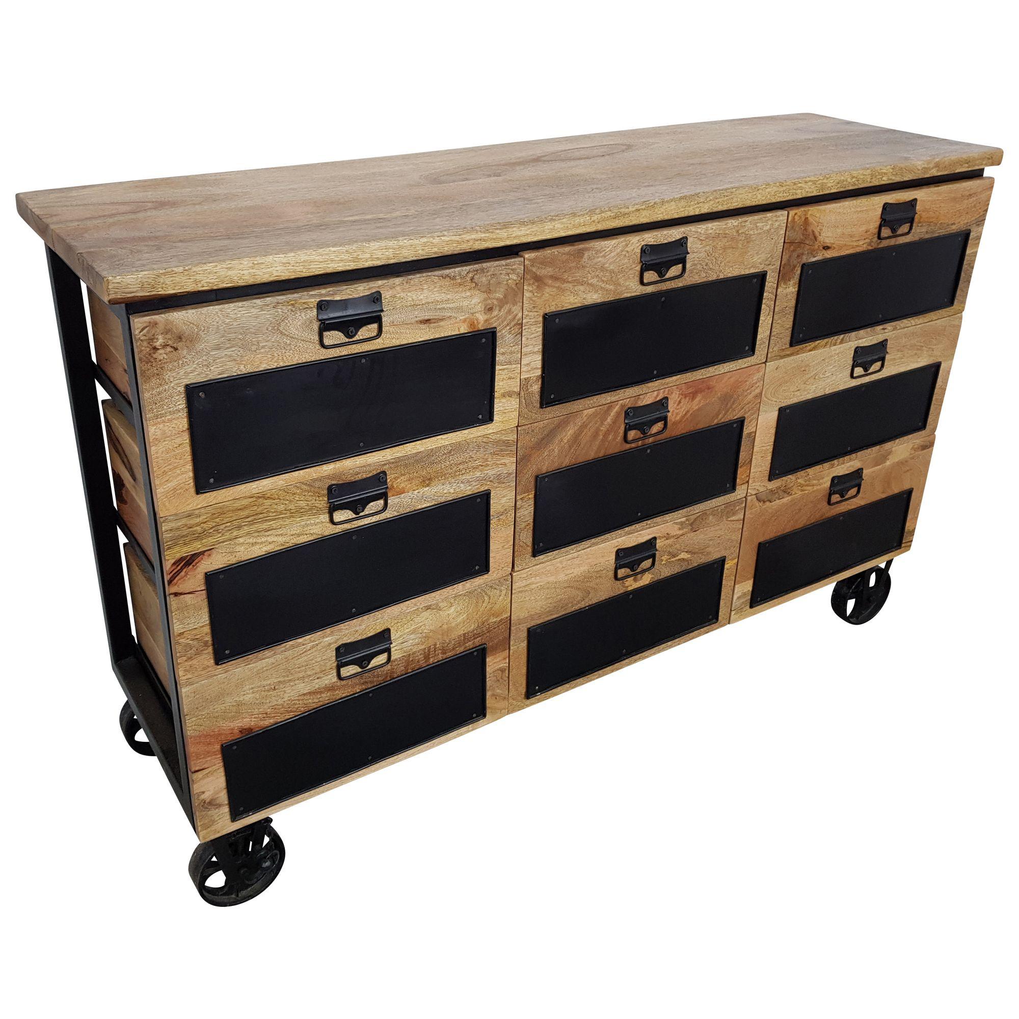 Kommode Schrank Sideboard Rader Rollbar Massiv Holz Apotheker