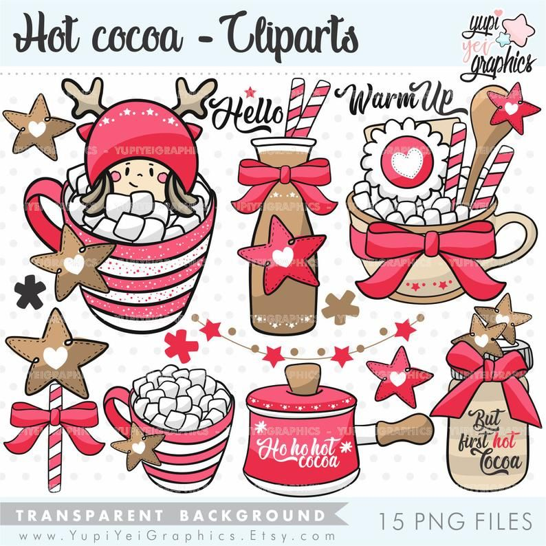 Christmas Clipart Christmas Graphic Hot Cocoa Clipart Etsy In 2021 Christmas Clipart Christmas Illustration Clip Art