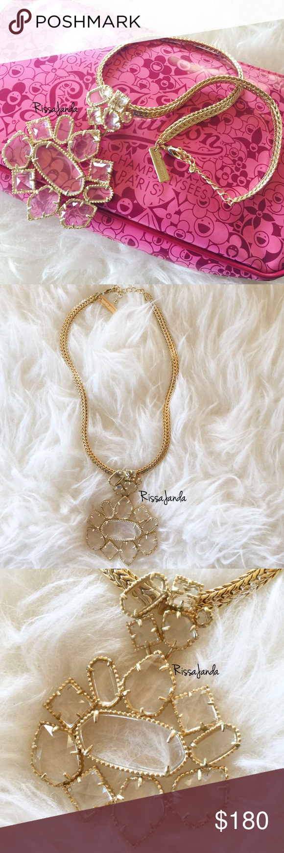 """Kendra Scott Blakely in Clear Never worn! New without tags Retired Blakely Pendant Necklace • 14K Gold Plated Over Brass • Size: 3.31""""L x 2.44""""W pendant, 16"""" chain with 2"""" extender • Material: crystal clear glass Kendra Scott Jewelry Necklaces"""