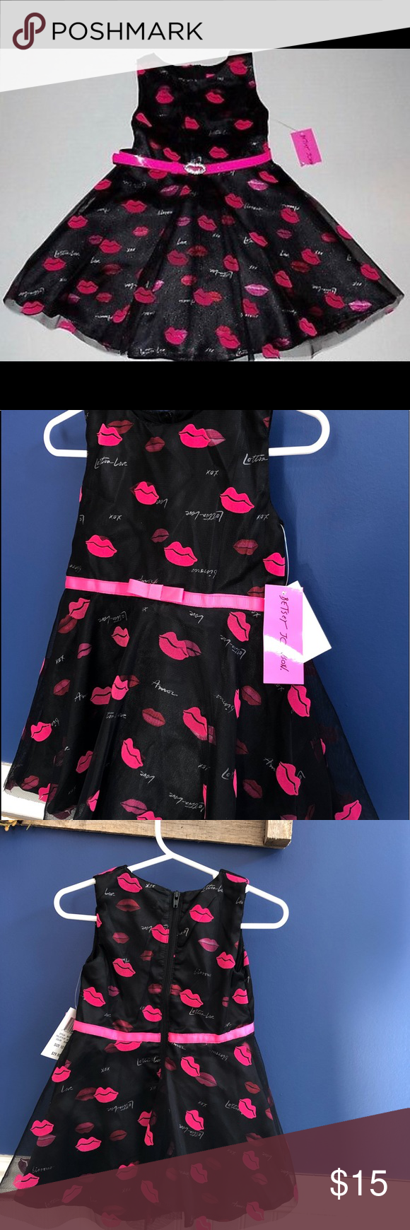 Betsey Johnson Girl black pink bling Lottsa lip Betsey Johnson 💋Girl black .. Words Love, Kisses, Amor, Lottsa Love, etc allover. Betsey Johnson Toddler. Tulle Overlay w/pink velour lip print. Satin like material underneath. Brand new NWT 1st and 2nd pictures are examples of the dress Betsey Johnson Dresses