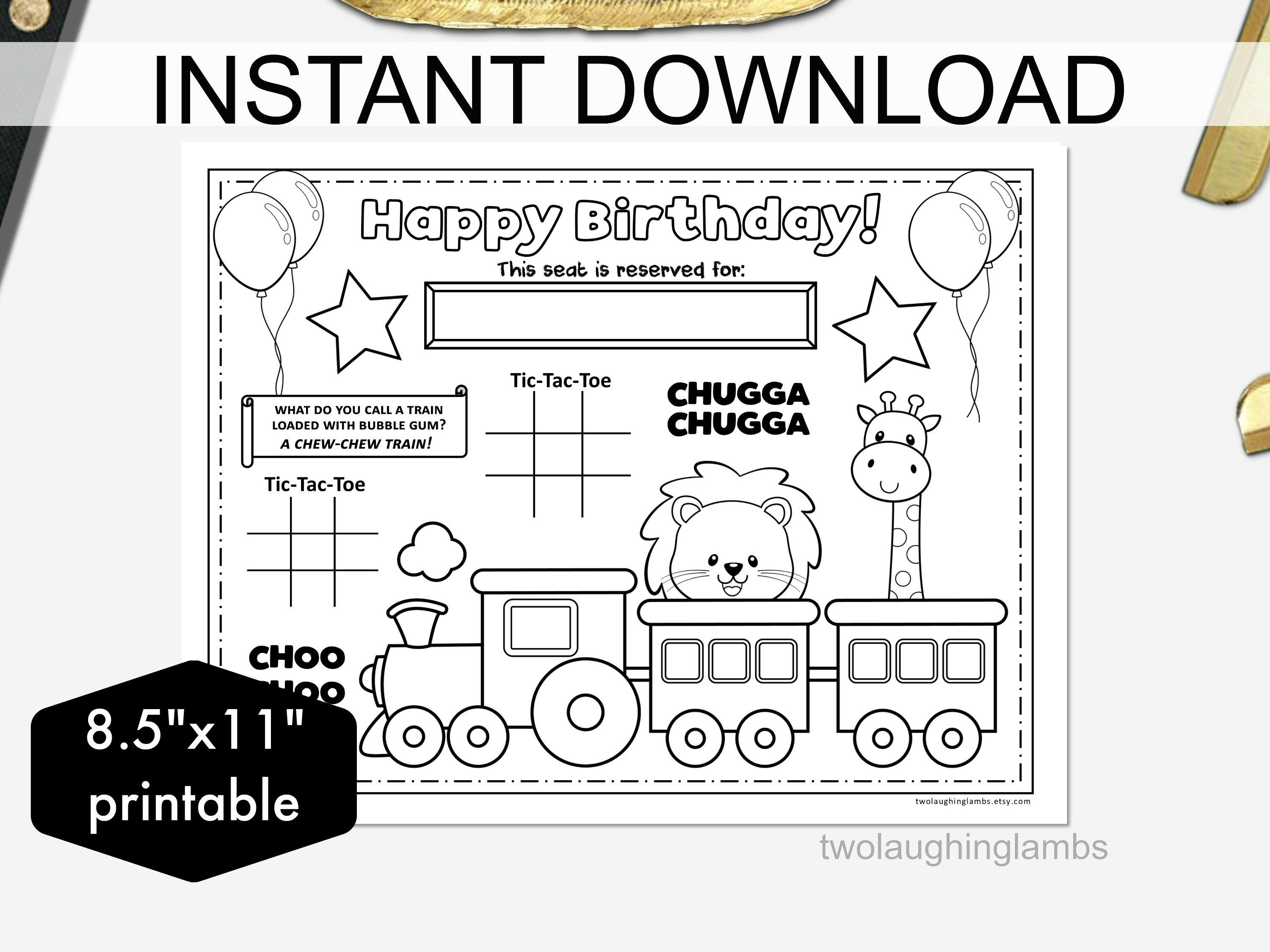 Instant Train Party Placemat Kids Printable Activity Circus Train Birthday Party Maze Choo Choo Train Co Blank Card Template Plain Sticker Paper Placemats Kids