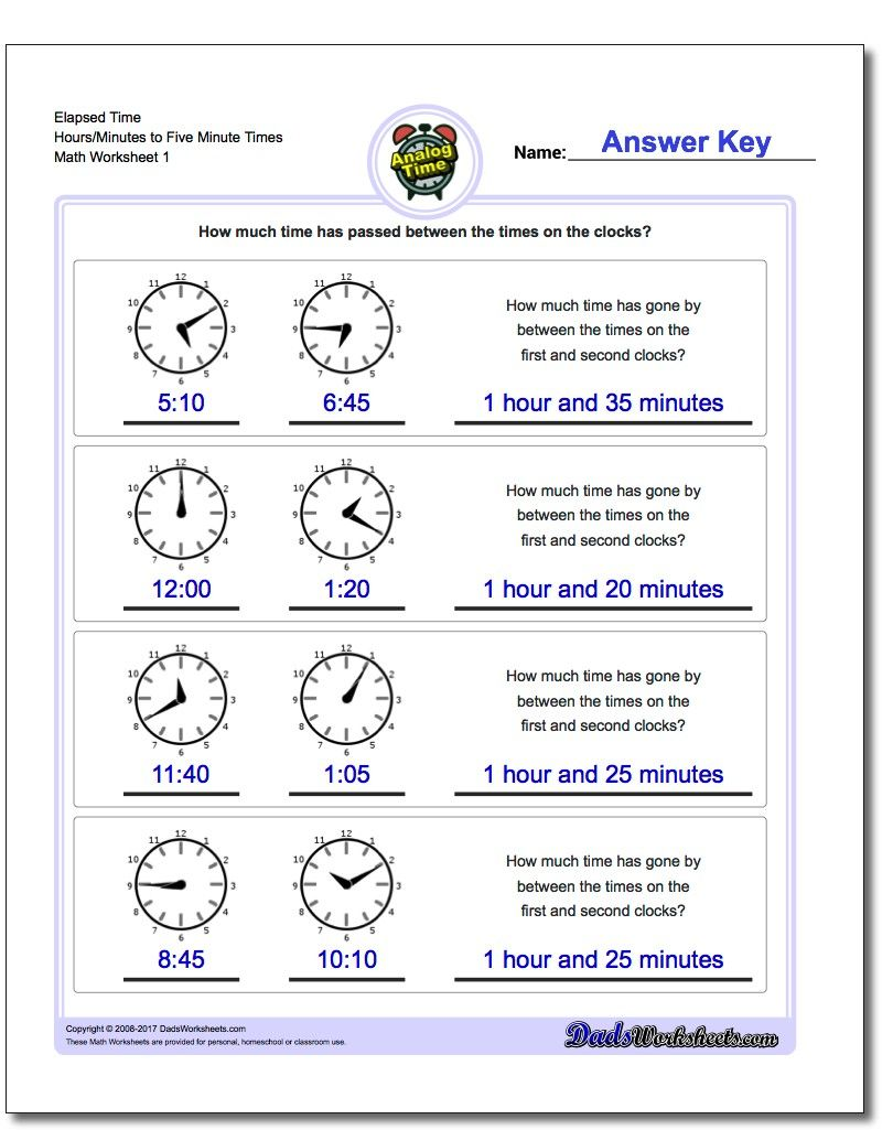 small resolution of Printable Elapsed time worksheets starting with five minute intervals and  calculating intervals…   Elapsed time worksheets
