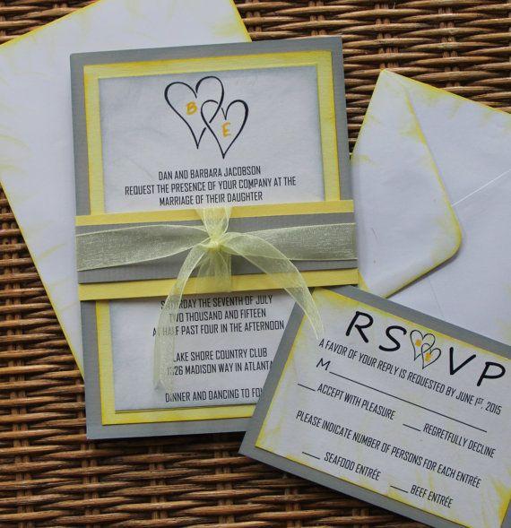 Handmade Wedding Invitation Yellow And Gray Invite Rsvp Envelopes Ribbon Belly Band Sample Set