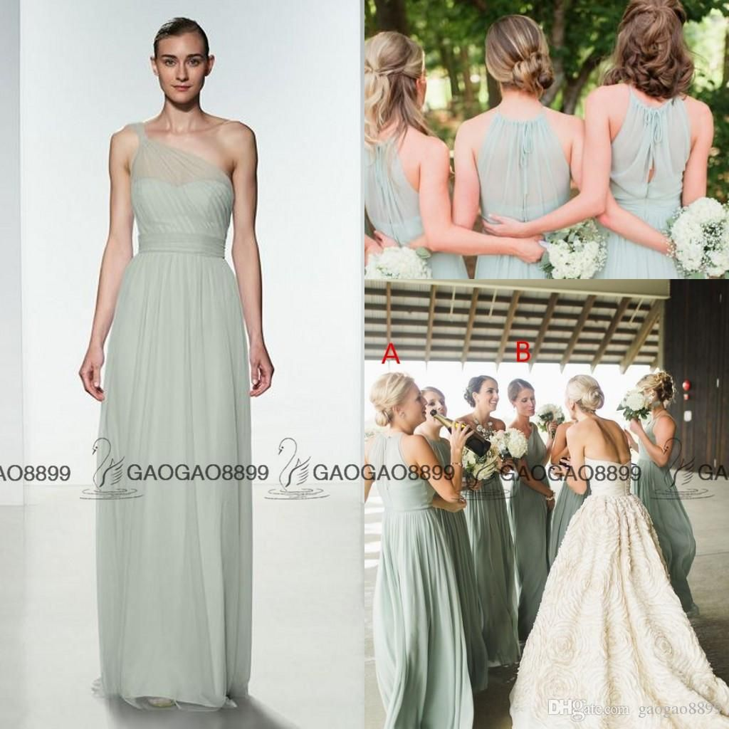 Cheap 2016 elegant mint green chiffon ruffles long bridesmaid cheap 2016 elegant mint green chiffon ruffles long bridesmaid dresses floor length open back boho country wedding party maid of honor gowns formal as low as ombrellifo Gallery