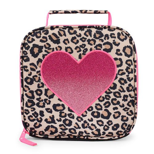 S Glitter Heart Leopard Print Lunch Box Tan The