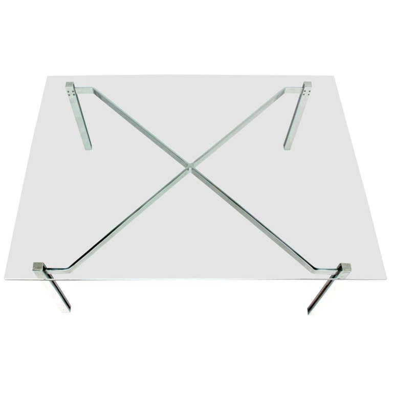 MidCentury Modern Solid Chrome And GlassTop Coffee Table By - Chrome base glass top coffee table