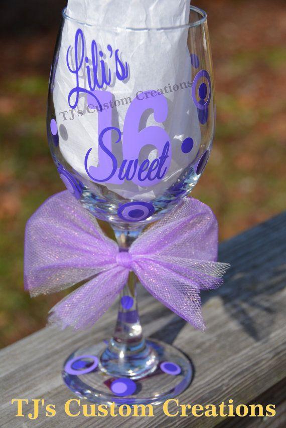 Free Personalization Sweet 16 16th Birthday 21 Oz Wine