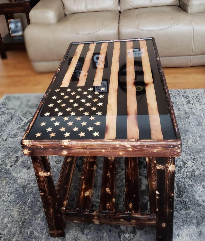 Wood Inlay American Flag Coffee Table Coffee Table Coffee Table