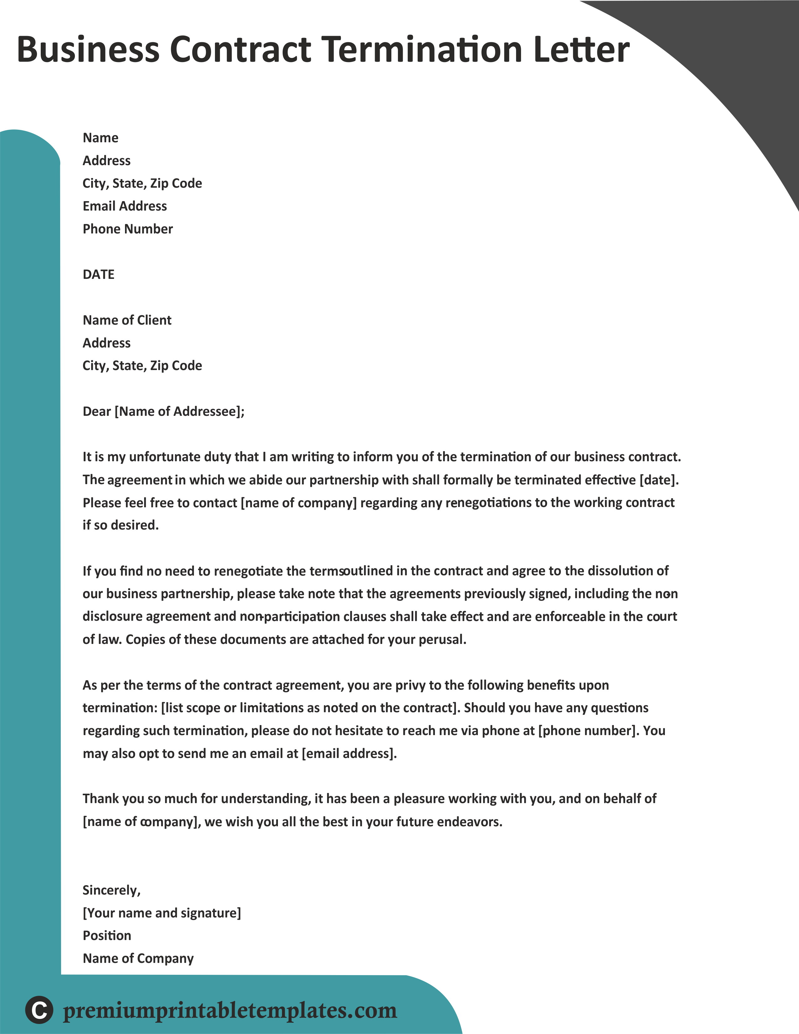 Business Contract Termination Letter Business letter
