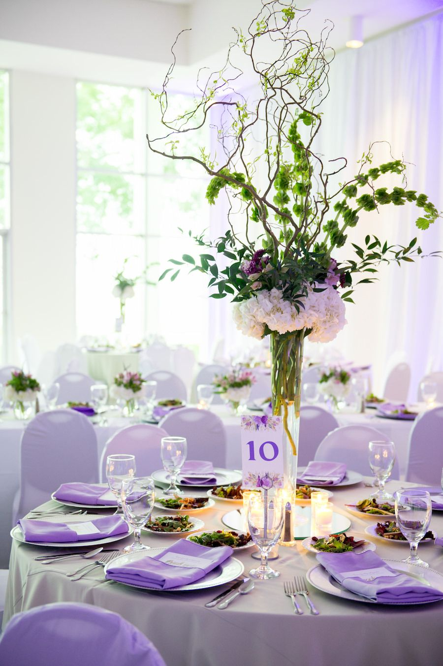 Tall Green Branches with Ivory Hydrangea and Purple Floral Wedding ...