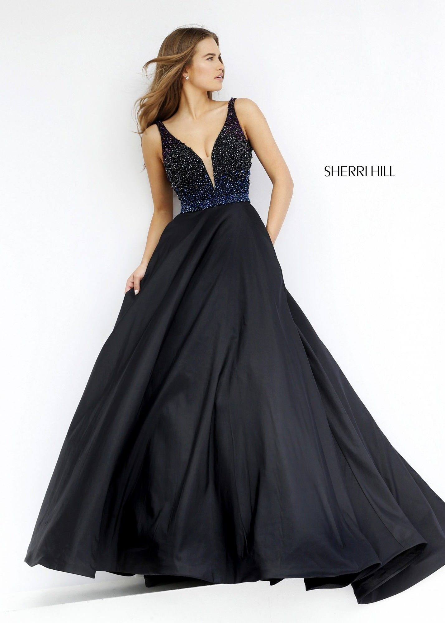 9351548357132 Sherri Hill 32336 Deep V-Neck Sleeveless Ball Gown