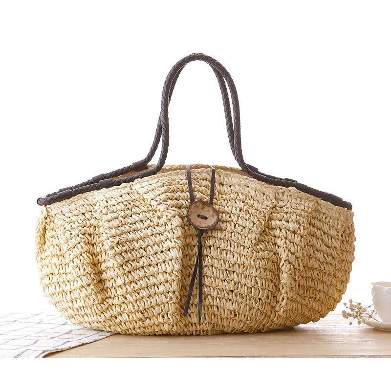 2017 New Vintage Summer Beach Bag Bucket Straw Bags for Women High ...