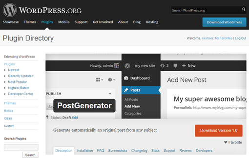 WordPress › Postgenerator « WordPress Plugins