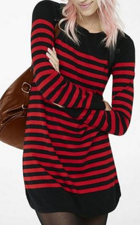 Stylish Black and Red Stripe Round Neck Long Sleeve Red and Black ...