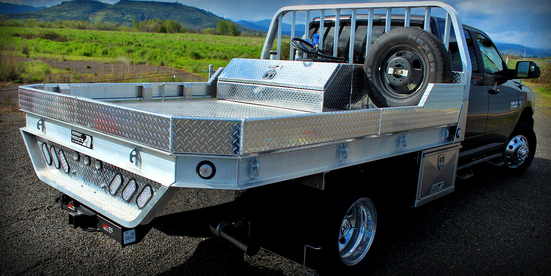 Dodge 3500 with Aluminum Flatbed, dual underbody boxes w