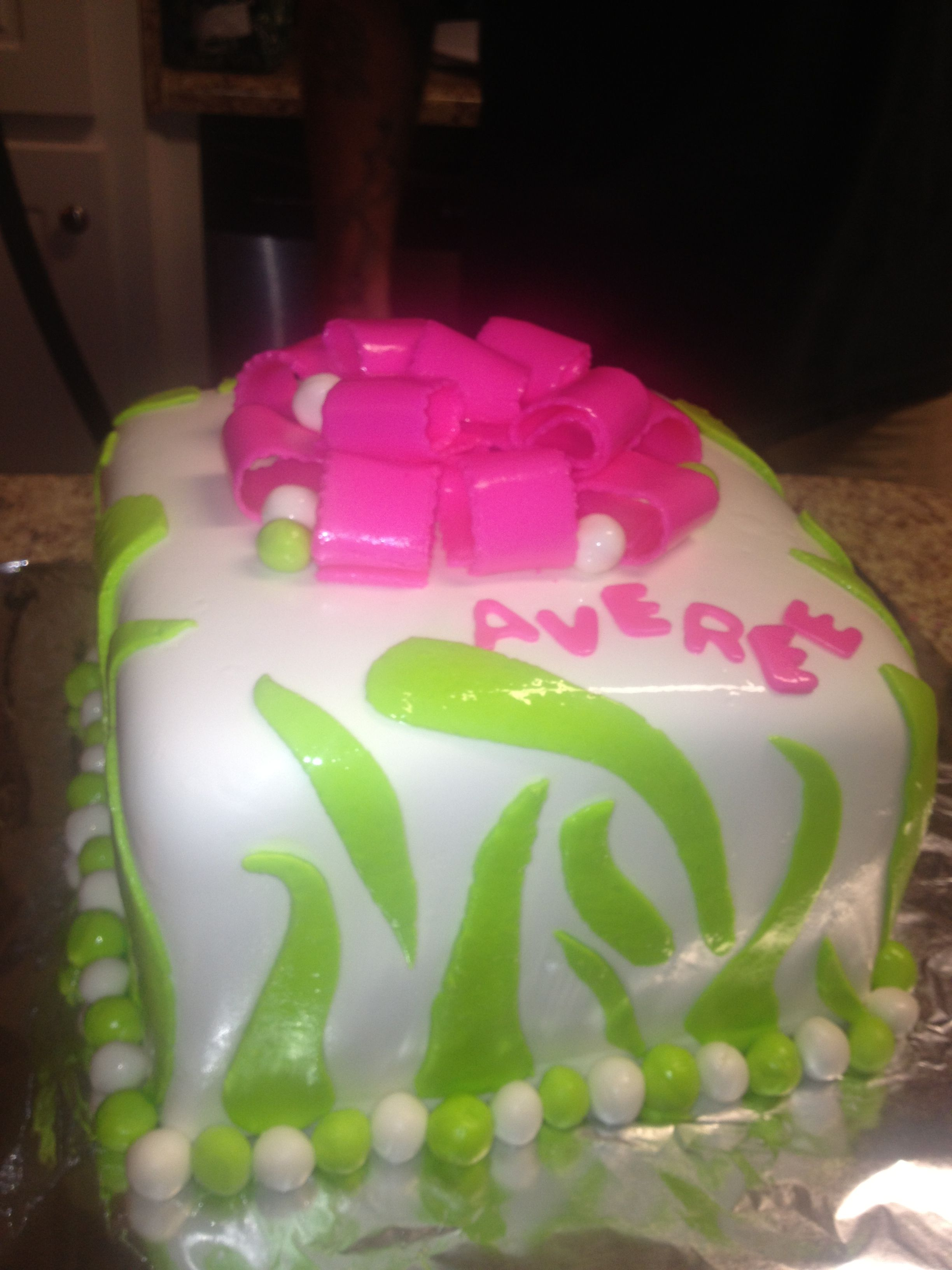 Birthday Cake With Hot Pink And Lime Green Cakes Pinterest