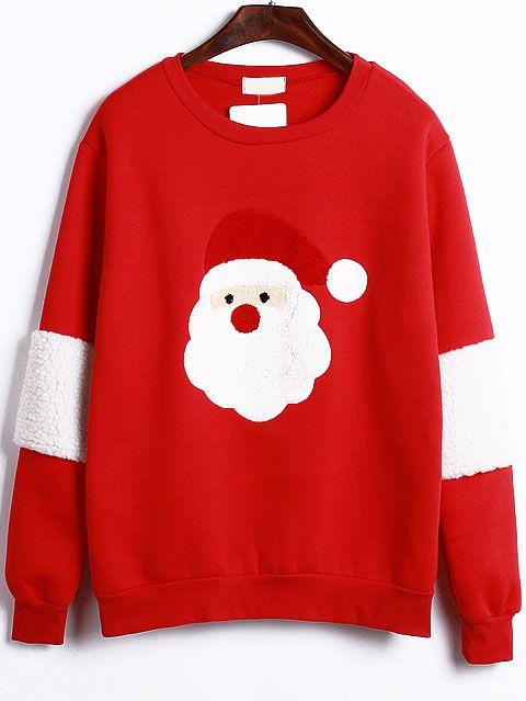 Santa Claus Pattern Red Sweatshirt  601a53b9272f