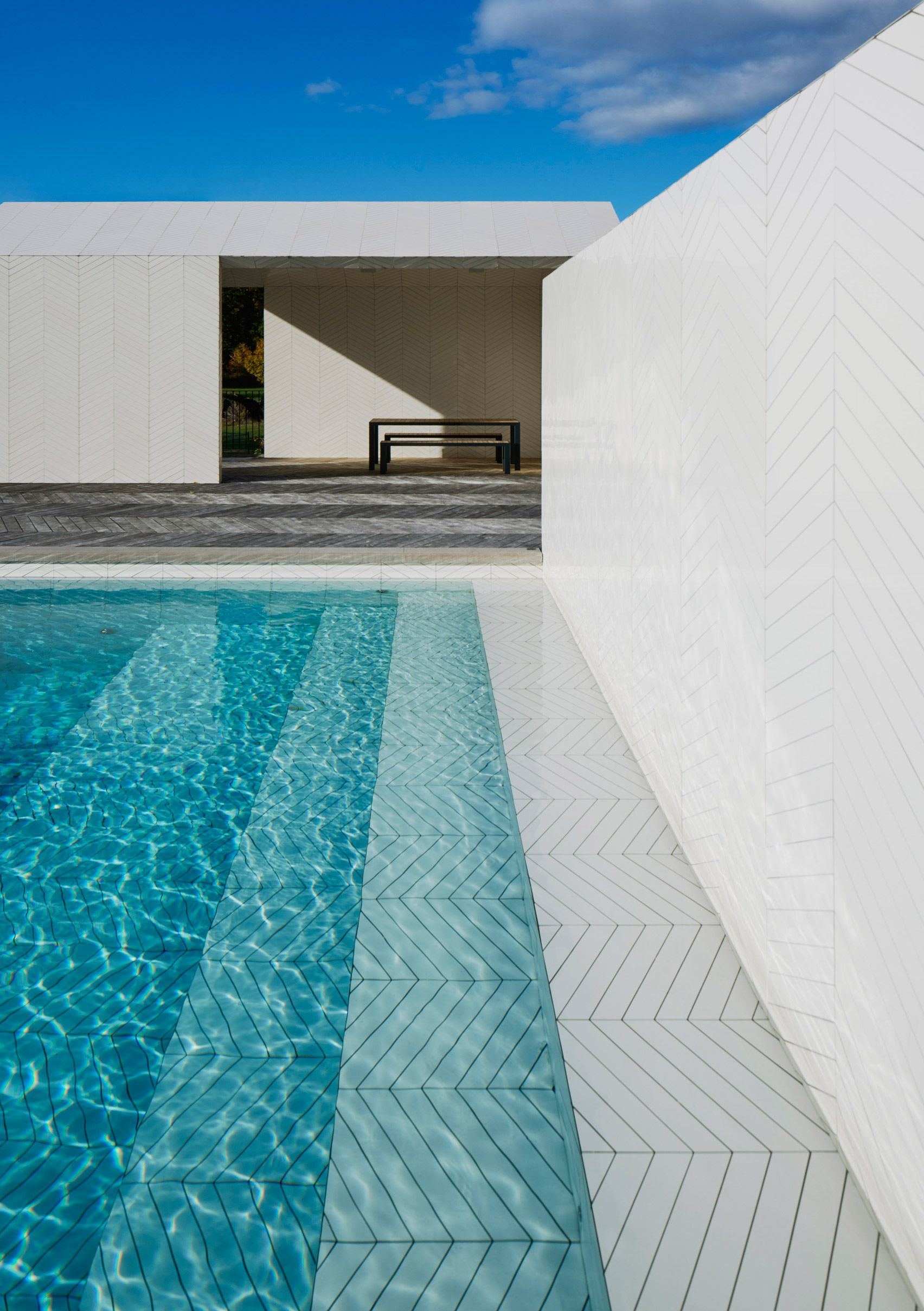 A White, Chevron Patterned Pool House? Why Not?