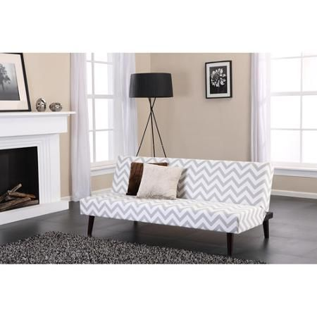 Dhp Kinsley Chevron Contemporary Style Futon White With Grey Design Com
