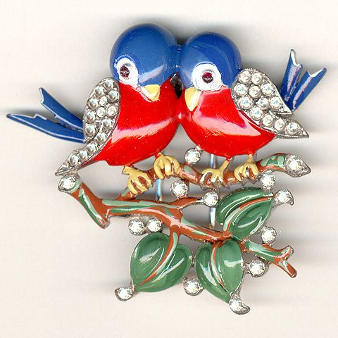 Trifari 'Alfred Philippe' Pair of Enamel and Rhinestone Lovebirds on a Branch Pin Clip 1940